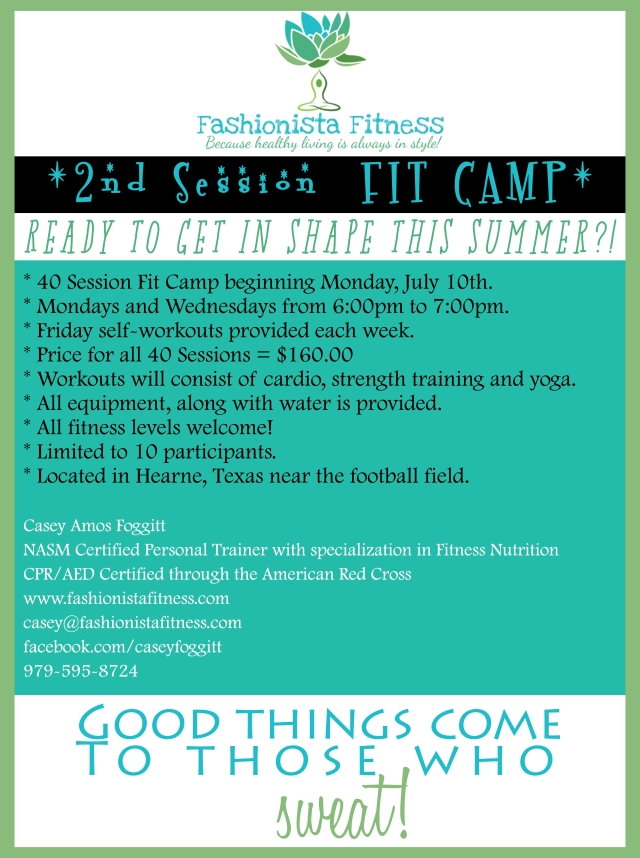 2nd Session Fit Camp Sign Up Fashionista Fitness